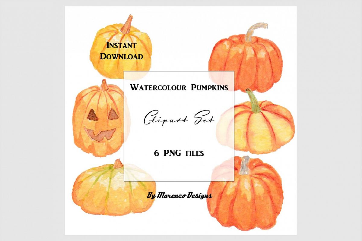 Watercolour pumpkins clip art set example image 1
