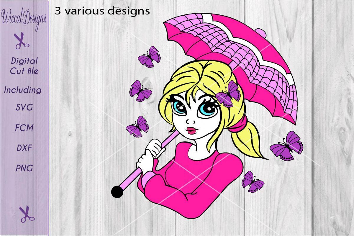 Butterfly girl svg, Umbrella girl svg, Girl face svg, summer girl svg example image 1