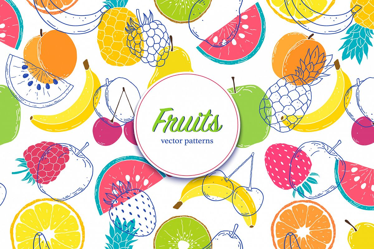 Fruits. Vector patterns. example image 1