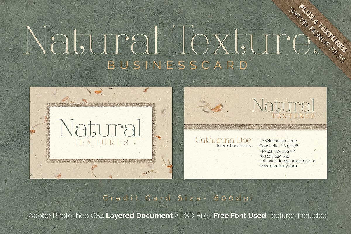 natural texture business card by easy design bundles
