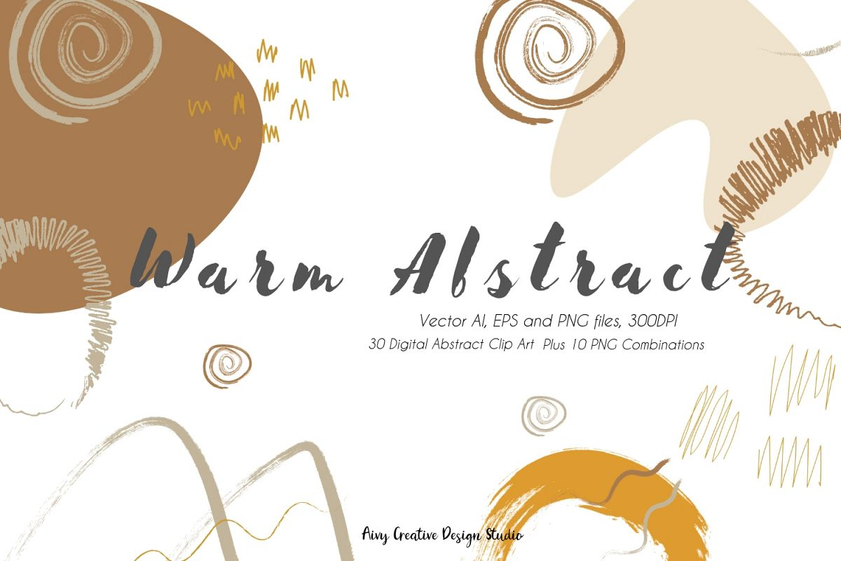 Vector Warm Abstract Colors Abstract Clip Illustration Set example image 1