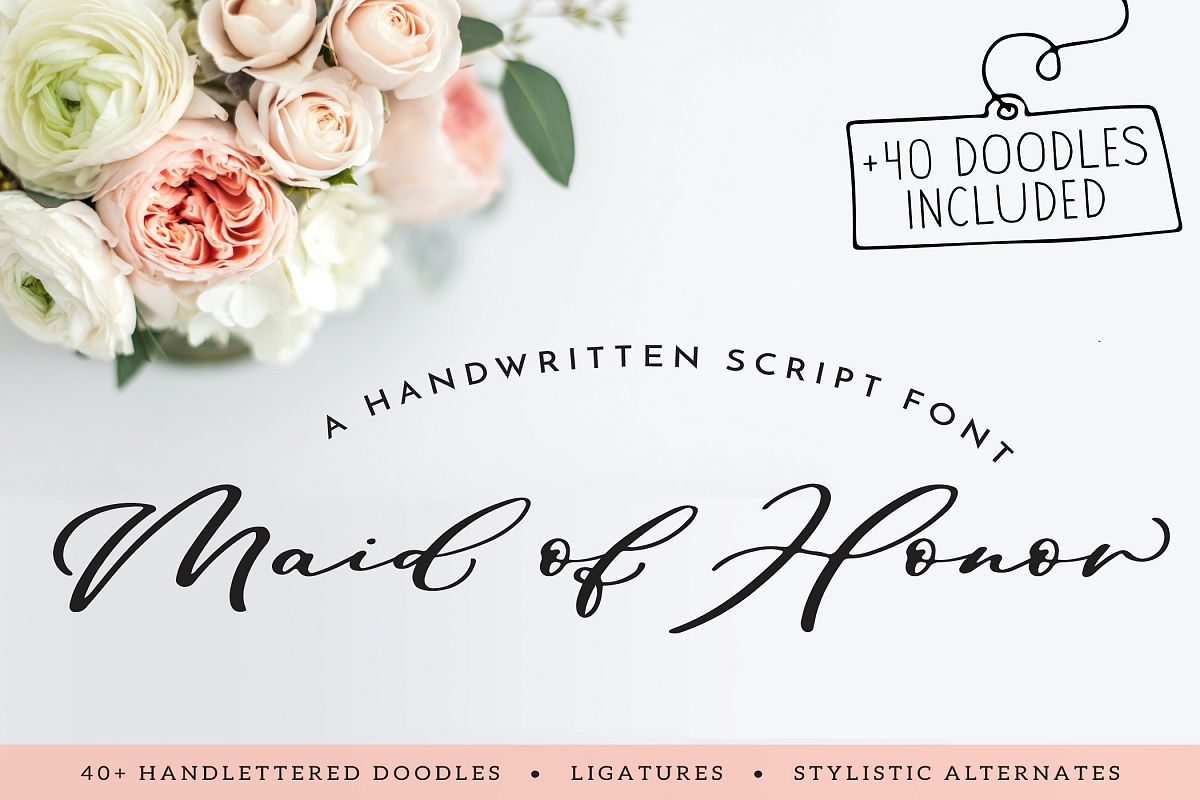 Maid Of Honor - A script font with matching doodles example image 1