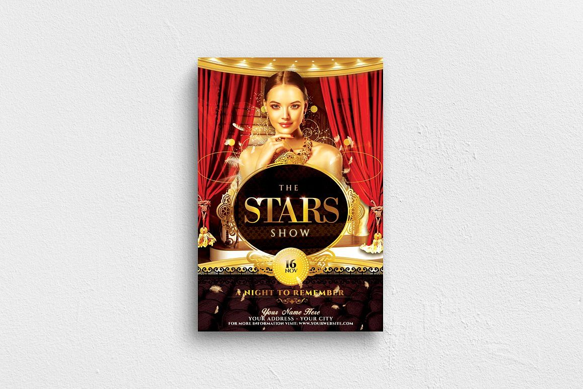 The Stars Show Flyer Template example image 1