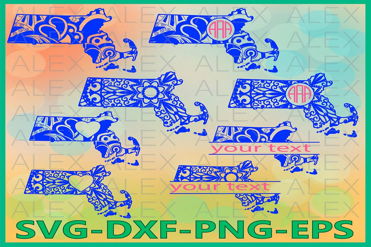 Massachusetts State SVG, Massachusetts Mandala SVG example image 1