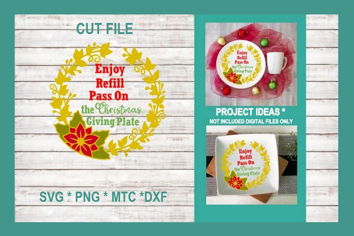 SVG Cut File Christmas Giving Plate Design #01 example image 1