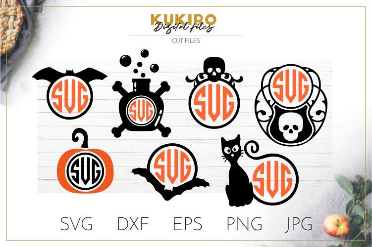 Halloween Monogram frames - Bat, skull, poison, cat, pumpkin example image 1