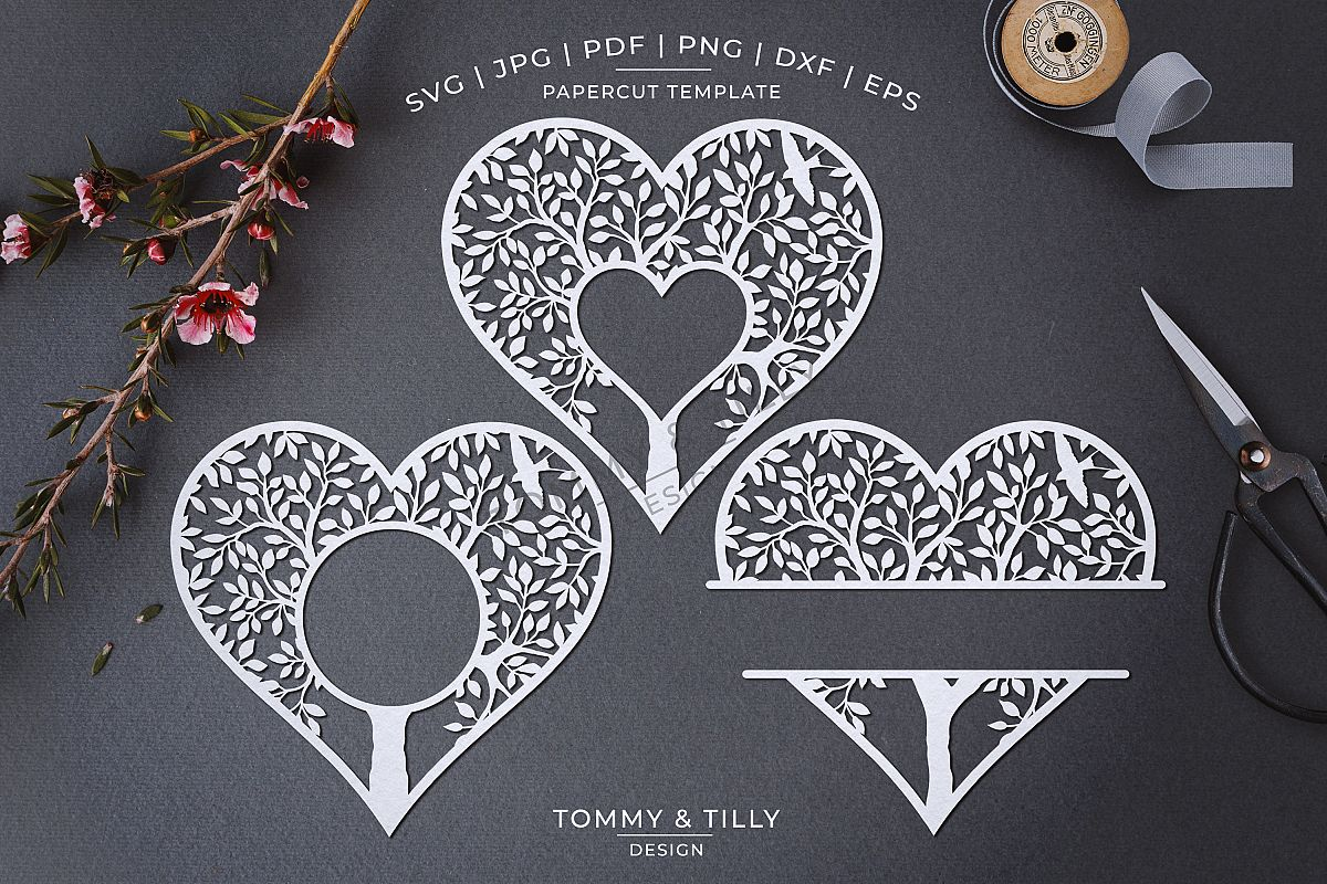 Monogram Heart Tree x 3 - Papercut Template SVG EPS DXF PNG example image 1