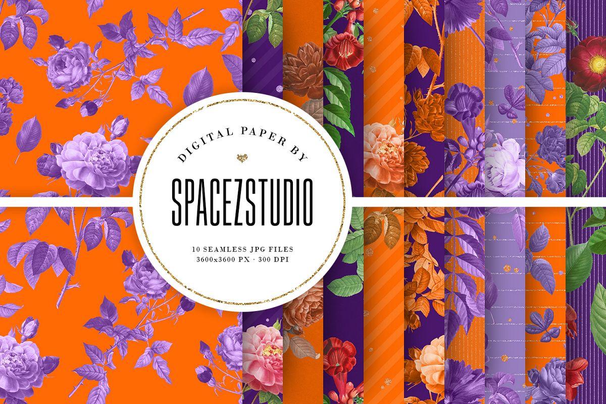 Purple & Orange Antique Botanical Seamless Backgrounds example image 1