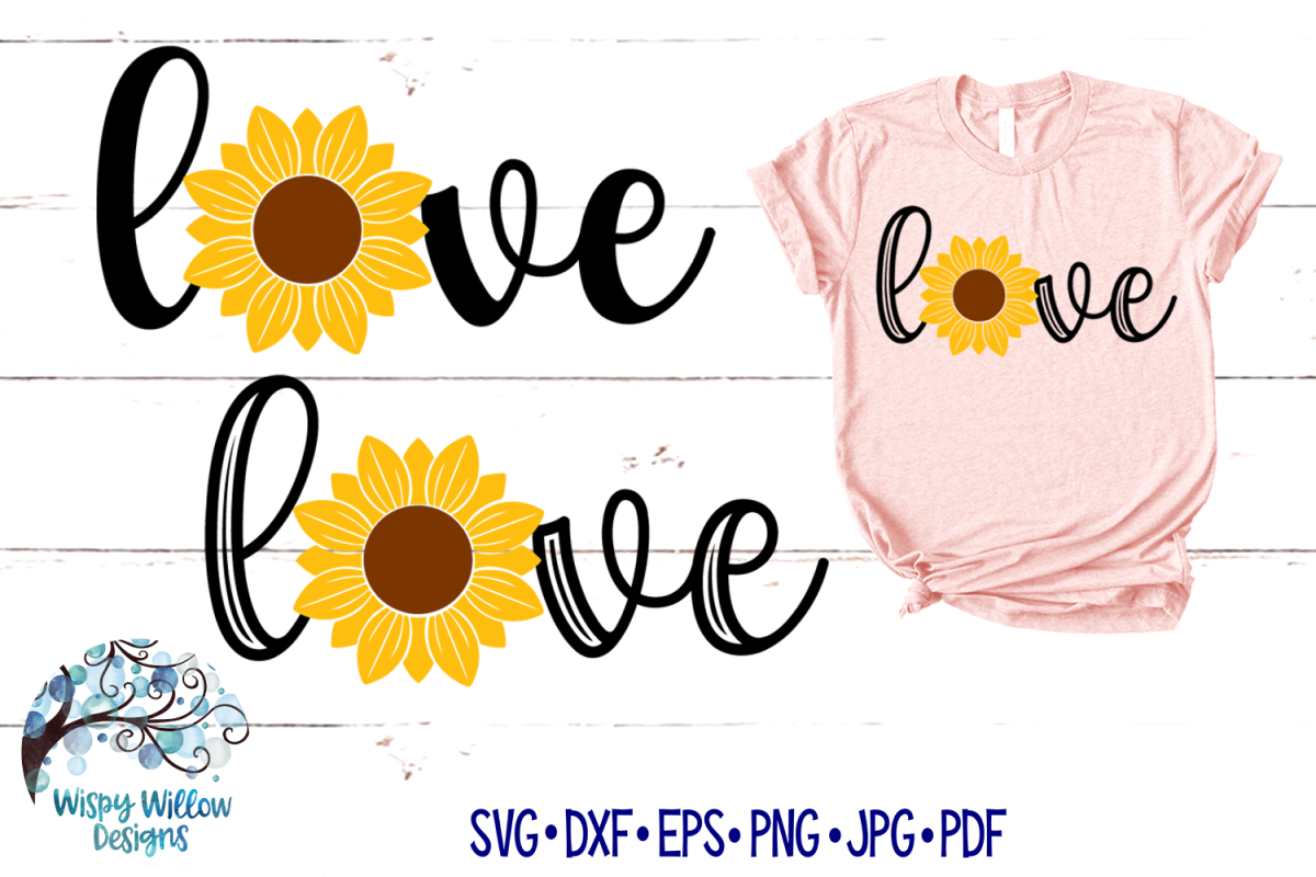 Love Sunflower SVG Set   Love Sign   Fall SVG Cut Files example image 1