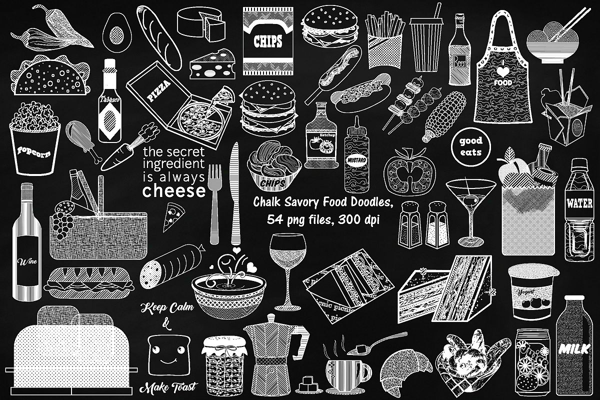 Chalk Savory Food Doodles Clip Art example image 1