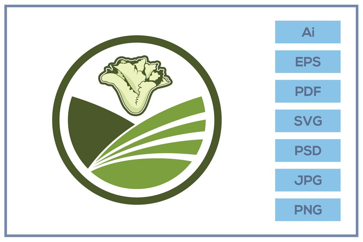 Vector of Farm logo design with lettuce icon example image 1