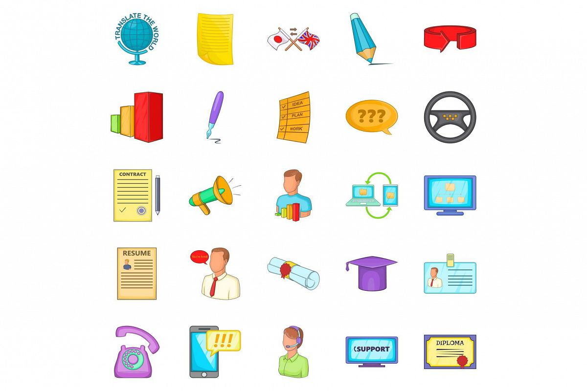 Seminar icons set, cartoon style example image 1