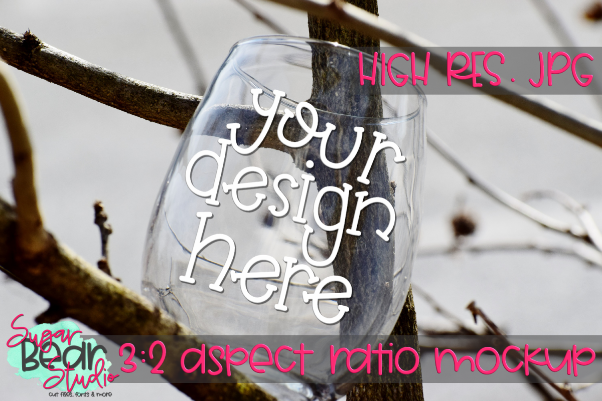 Wine Glass in Tree Mockup example image 1