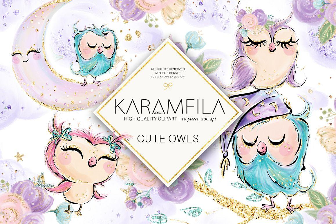 Cute Owls Clipart (85349) | Illustrations | Design Bundles