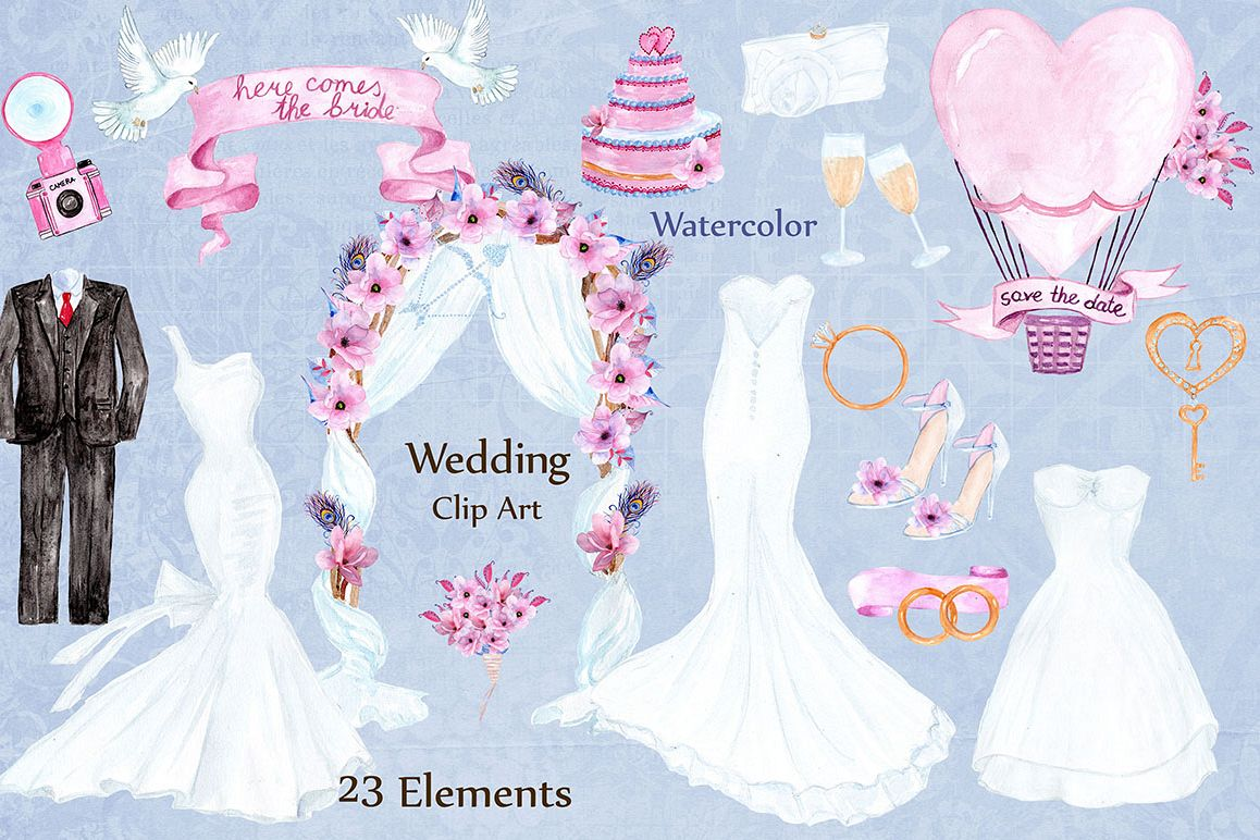 Watercolor wedding dresses clipart example image 1