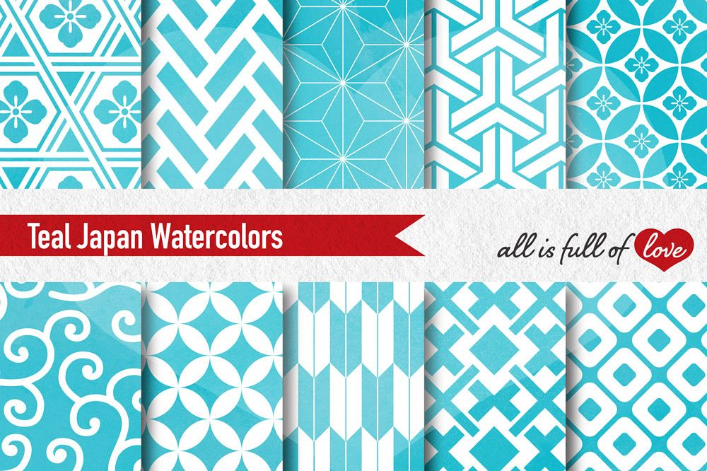 Teal Digital Paper Turquoise Watercolor Background Patterns