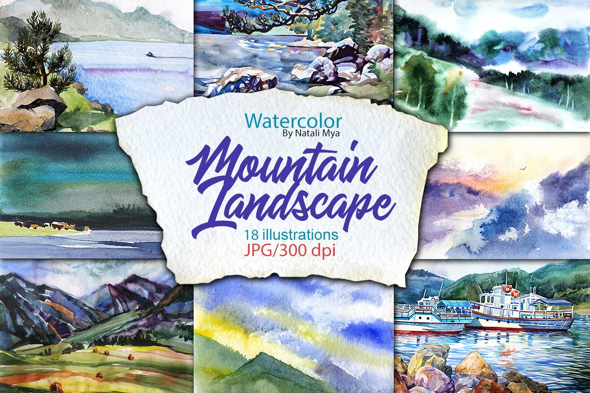 Watercolor Mountain Landscapes example image 1