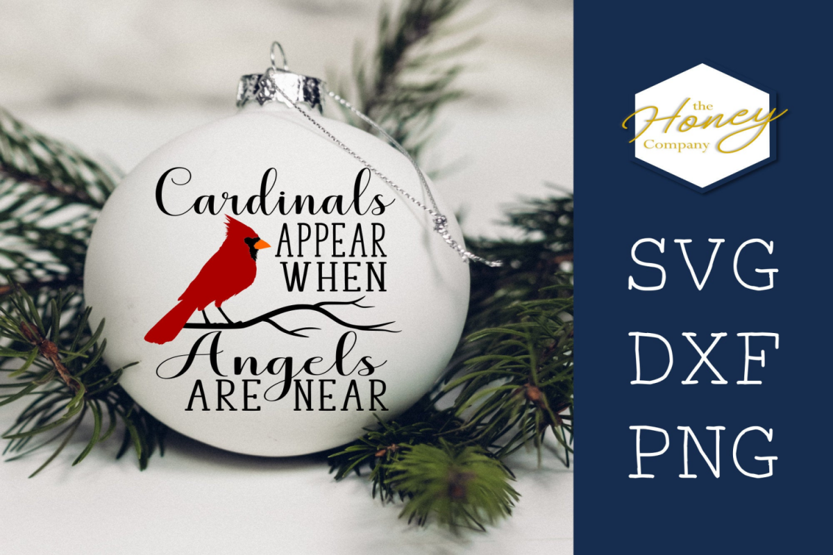 Cardinals Appear When Angels Are Near Christmas SVG DXF PNG example image 1