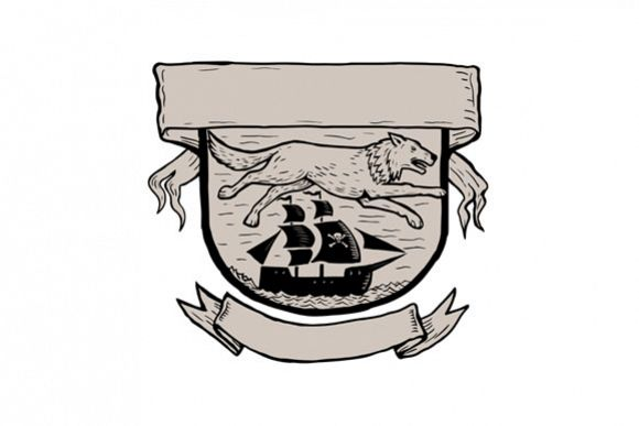 Wolf Running Over Pirate Ship Crest Scratchboard  example image 1
