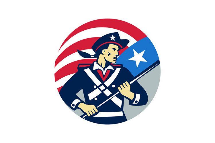 American Patriot Holding Brandish USA Flag Circle Retro example image 1