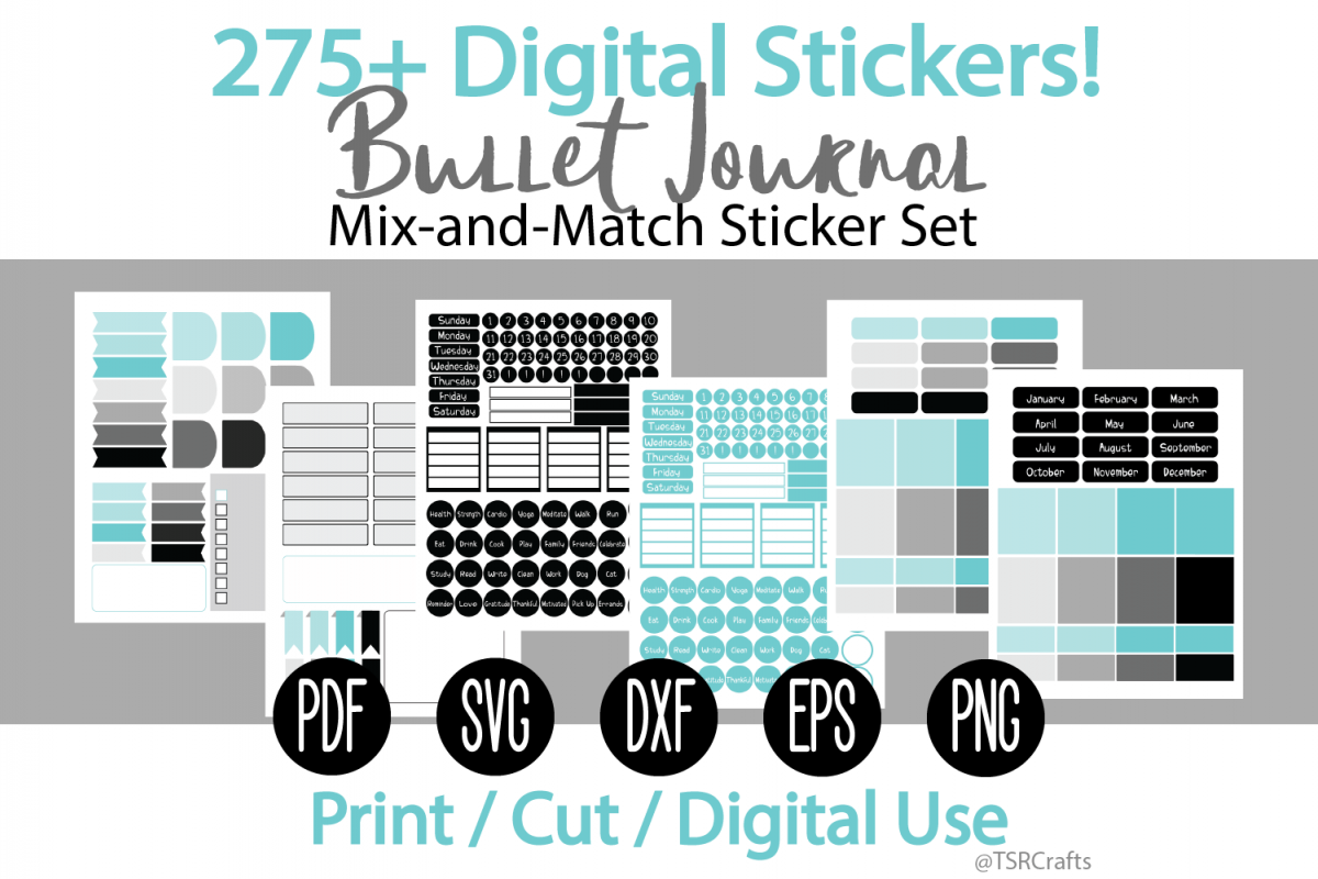 Bullet Journal and Planner Sticker Set - Black and Teal example image 1