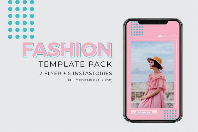 Fashion Template - 2 Poster & 5 InstaStories example image 1