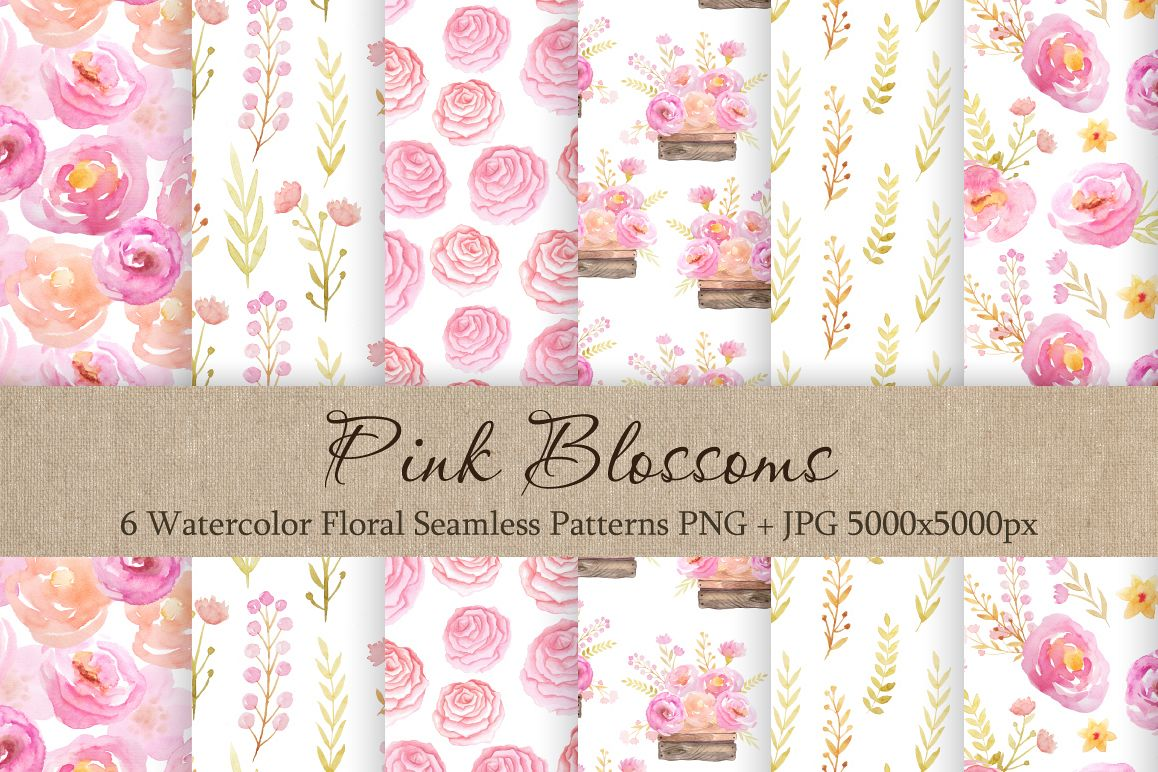 Watercolor Floral Patterns Vol.1 example image 1