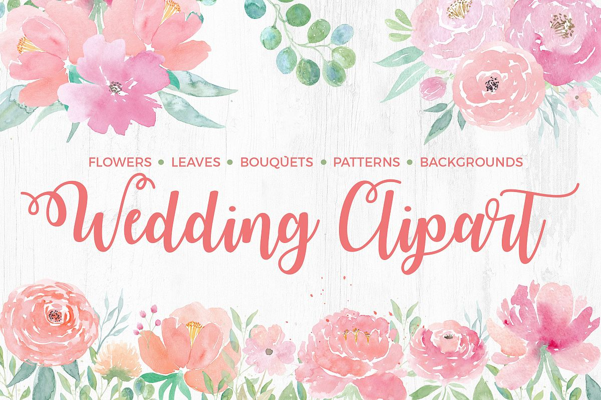 Watercolor wedding. Clipart flowers textures