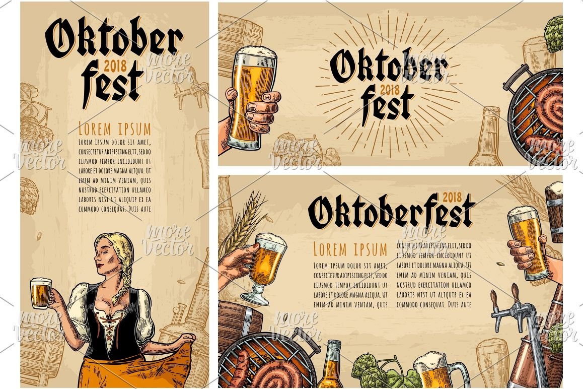 Horizontal, vertical posters oktoberfest festival engraving example image 1