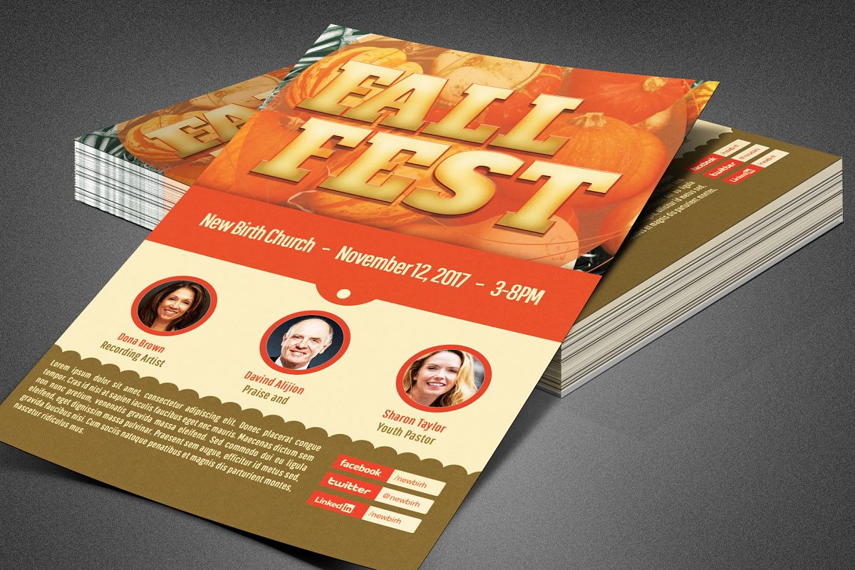 Fall Fest Church Flyer Template example image 1