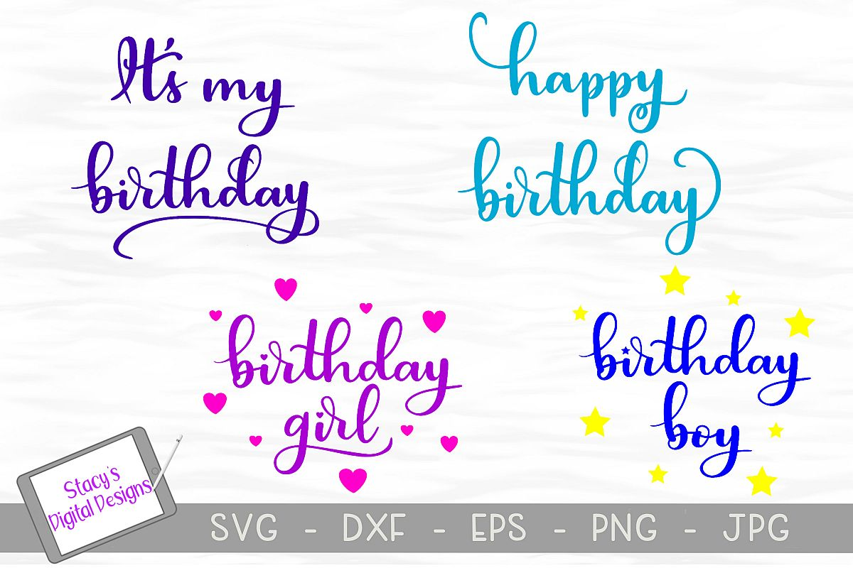 Birthday SVG Bundle - 4 birthday SVG files, Handlettered example image 1