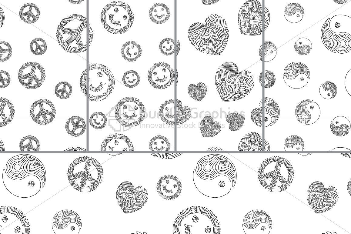 Peace, Happiness, Love, Balance - Pattern Set example image 1