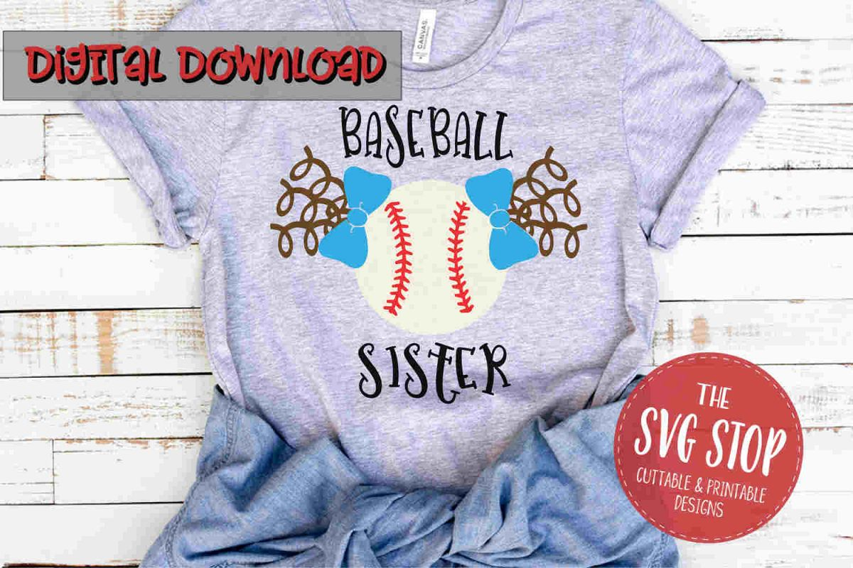 Baseball Sister Pigtails -SVG, PNG, DXF example image 1