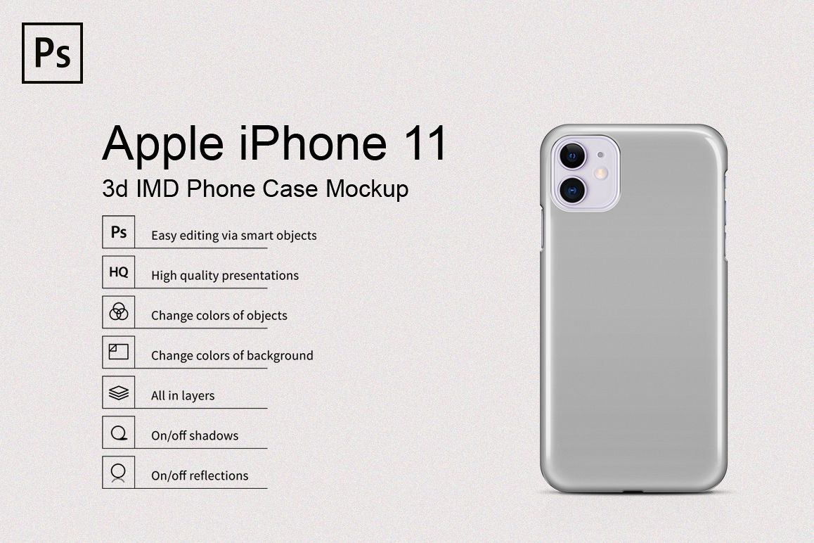 Apple iPhone 11 3d IMD Phone Case Mockup Back View example image 1