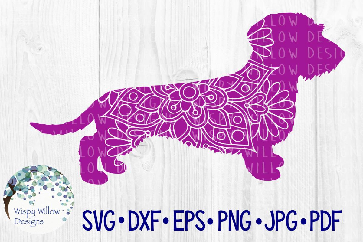 Wire Haired Dachshund | Weiner Dog Mandala | SVG Cut File example image 1