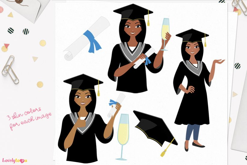 Woman graduate character clip art L268 Layla example image 1