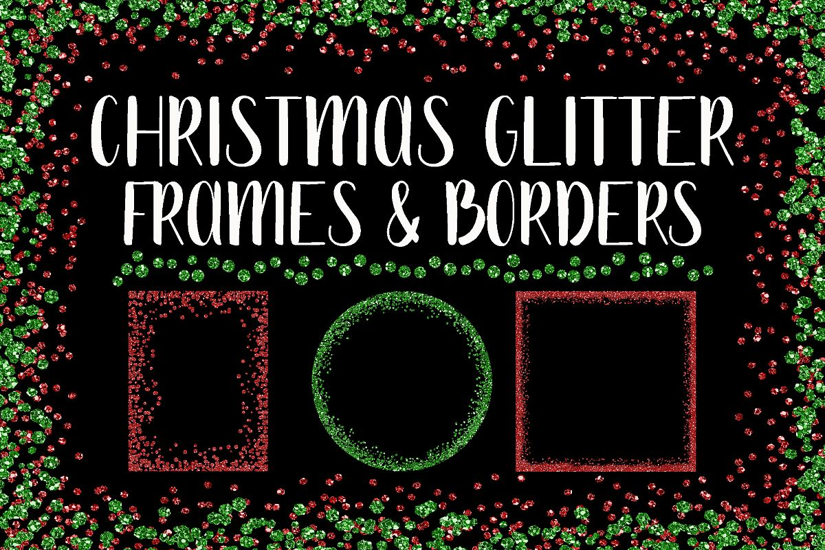 Christmas Glitter Frames and Borders PNG Clipart Bundle example image 1