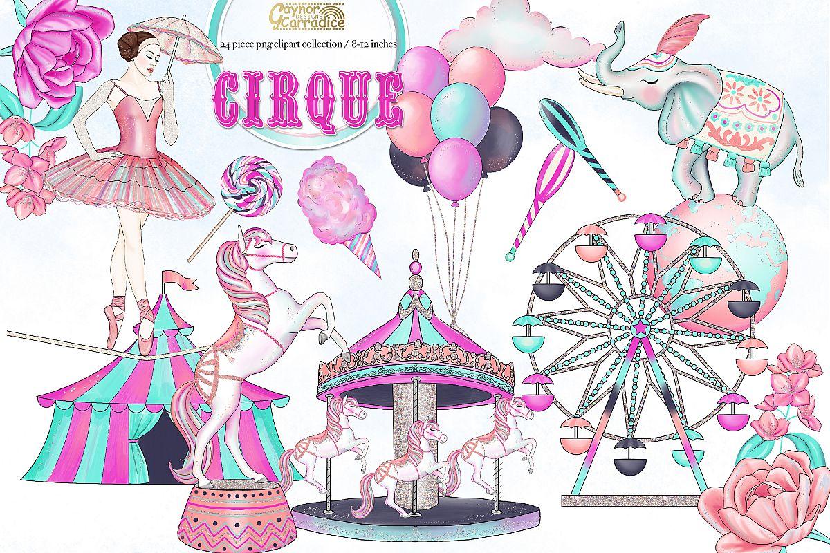 Cirque - watercolor circus Clipart collection example image 1