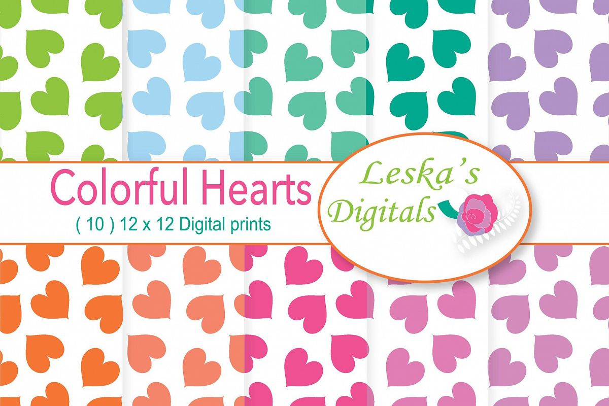 Rainbow Heart Digital Paper - Heart Patterns example image 1