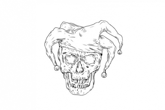 Court Jester Skull Drawing example image 1