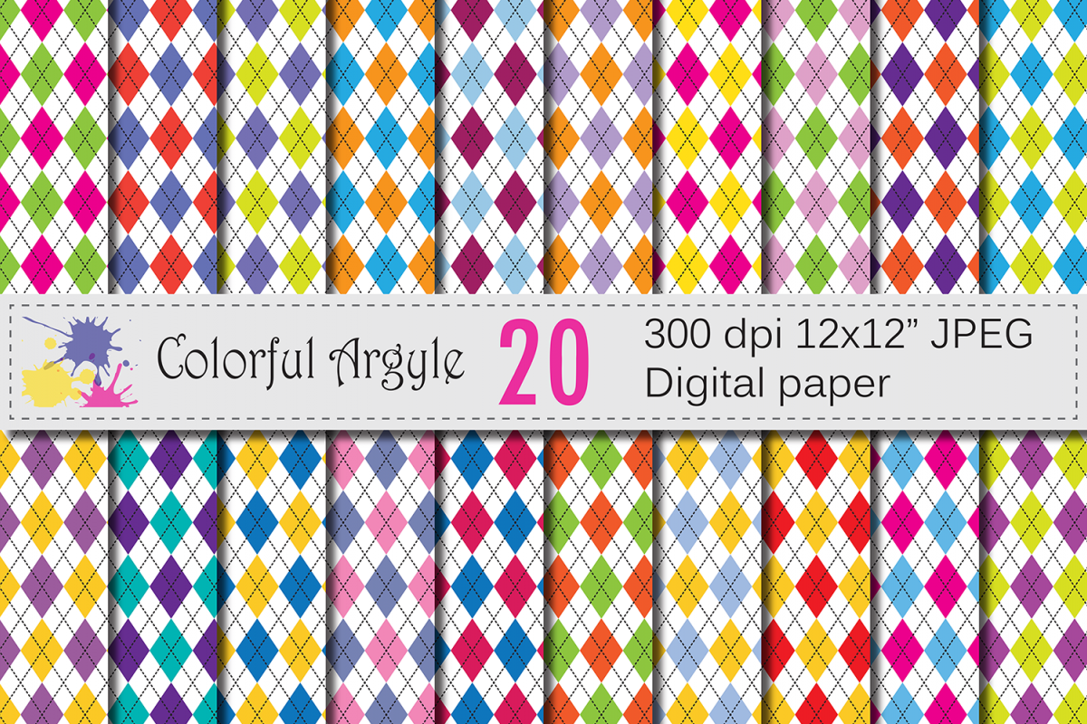 Colorful Argyle Digital Paper Pack / Argyle backgrounds example image 1
