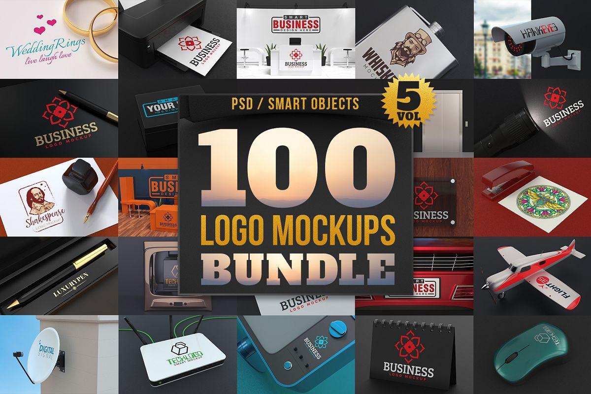 100 Logo Mockups Bundle Vol.5 example image 1
