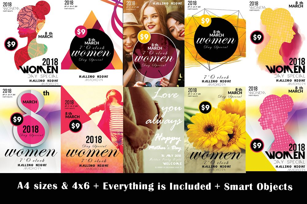 10 Women's Day Flyers Bundle example image 1