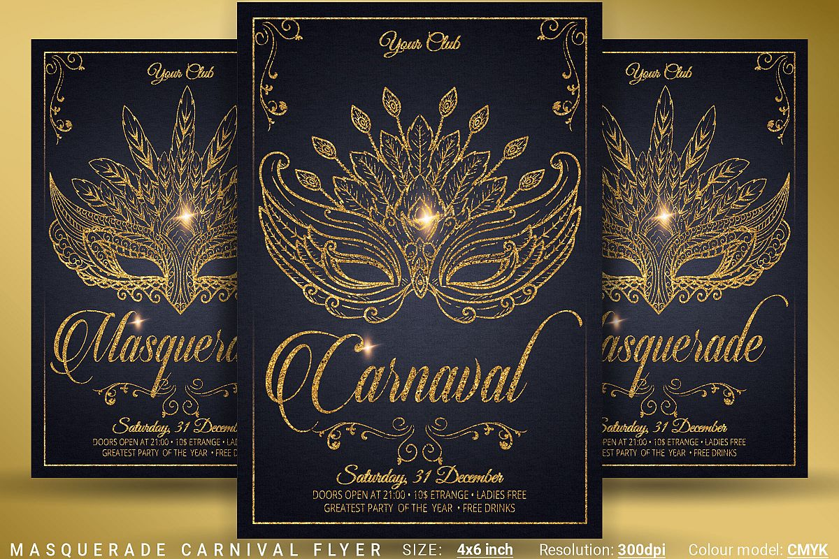 Masquerade Carnival Party Flyer example image 1