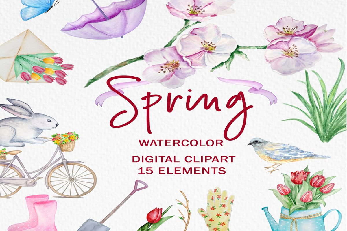 Watercolor Spring Clipart Set example image 1