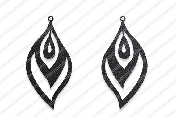 Peacock feather earrings svg,Leaf earrings,Jewelry svg example image 1
