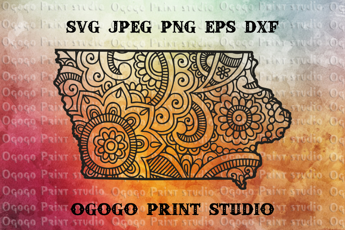 Iowa SVG, Zentangle SVG, Travel svg, Mandala svg example image 1