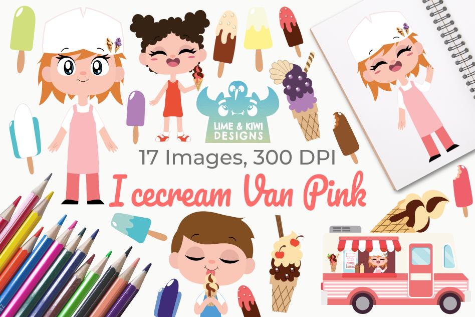 Icecream Van Pink Clipart, Instant Download Vector Art example image 1