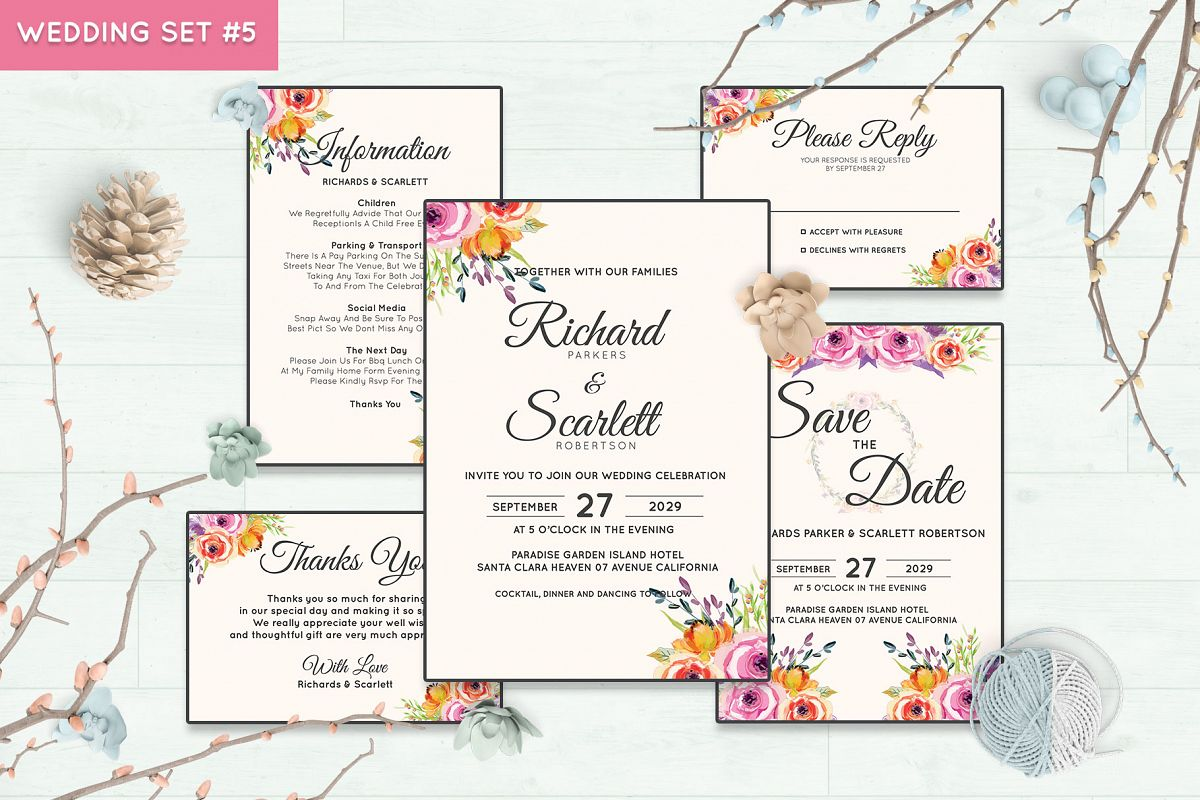 Wedding Invitation Set #5 Watercolor Floral Flower Style example image 1