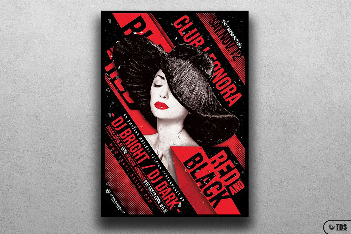 Black and Red Party Flyer Template V1 example image 1